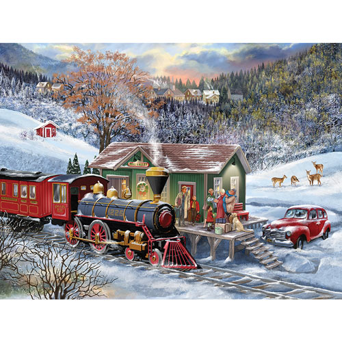 Rural Train Stop 500 Piece Jigsaw Puzzle