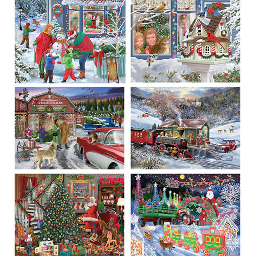Set of 6: Bigelow Illsutrations 500 Piece Jigsaw Puzzles