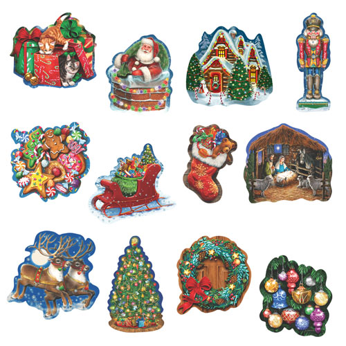 Christmas Celebration 300 Large Piece Shaped Jigsaw Puzzle