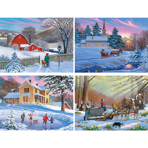Set of 4: John Sloane Winter 500 Piece Jigsaw Puzzles