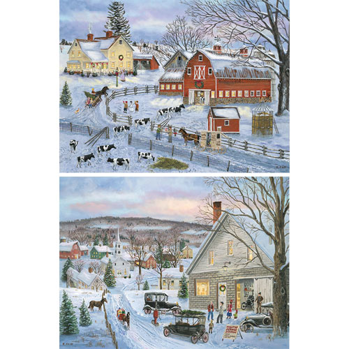 Set of 2: Winter Wonders 300 Large Piece Jigsaw Puzzles