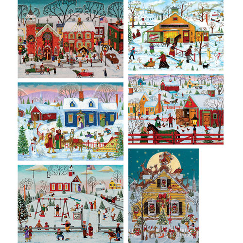 Set of 6: Joseph Holodook 1000 Piece Puzzles