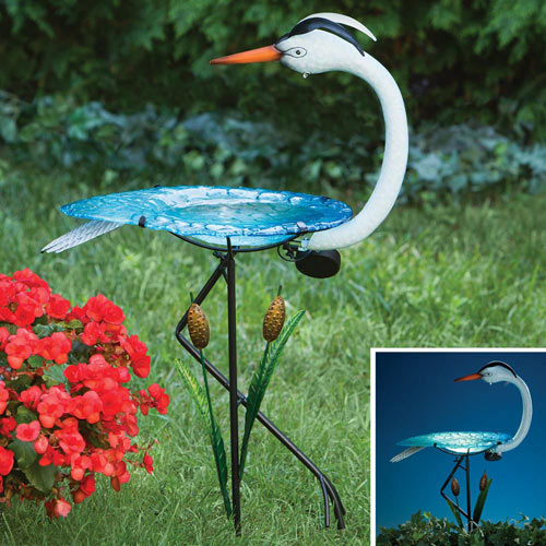 Solar Crane Birdbath