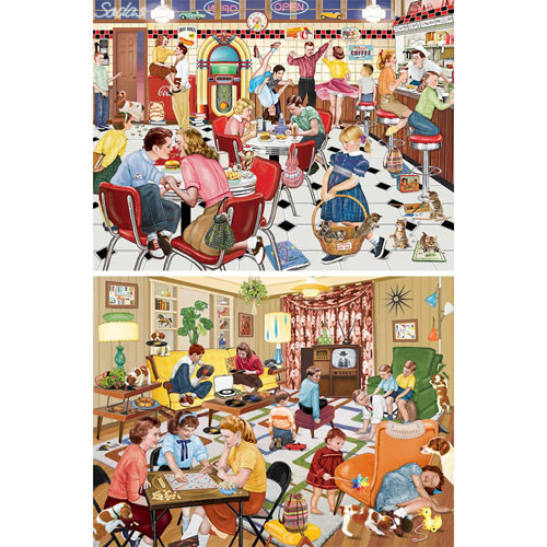 Set of 2: Nostalgic 300 Large Piece Jigsaw Puzzles