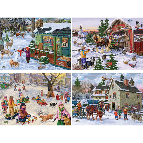 Set of 4: Joseph Burgess 300 Large Piece Winter Jigsaw Puzzles