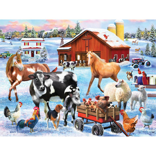 Snowy Farmyard Fun 500 Piece Jigsaw Puzzle