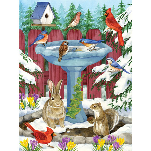 Frozen Birdbath 300 Large Piece Jigsaw Puzzle