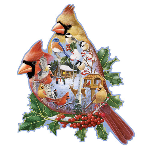 Woodland Cardinals 300 Large Piece Shaped Jigsaw Puzzle