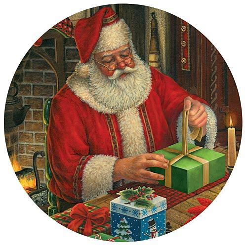 Santa's Presents 300 Large Piece Round Jigsaw Puzzle