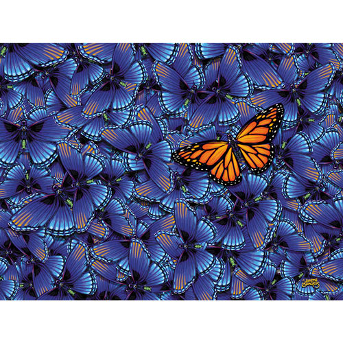 Monarch In A Sea Of Blue 300 Large Piece Jigsaw Puzzle