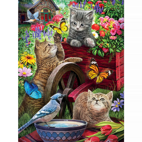 Kittens On A Wheelbarrow 1000 Piece Jigsaw Puzzle