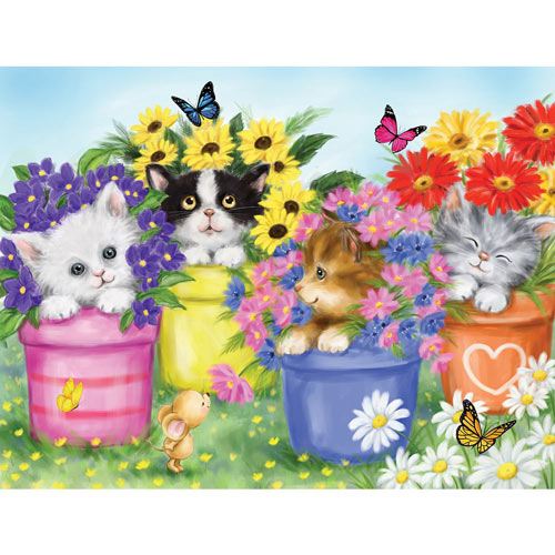Cats In Flower Pots 100 Large Piece Jigsaw Puzzle