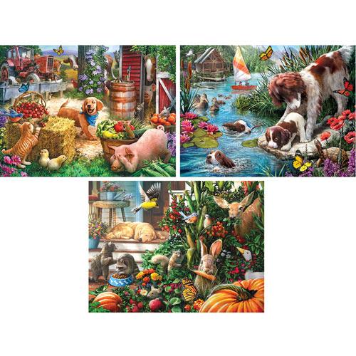 Set of 3 Pre-Boxed: Larry Jones 300 Large Piece Jigsaw Puzzles