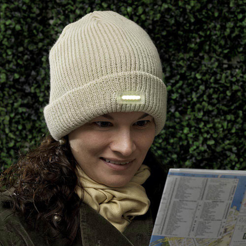 Knit Hat with LED Light - Tan