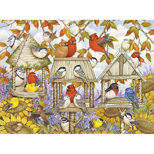 Birdfeeders and Sunflowers 1000 Piece Jigsaw Puzzle