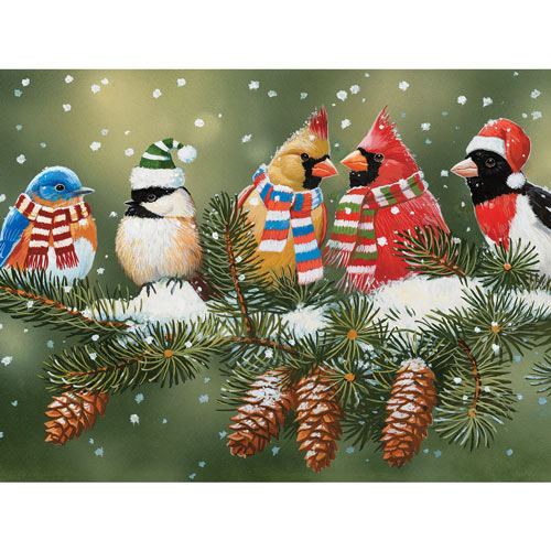 Festive Birds On A Snowy Branch 300 Large Piece Jigsaw Puzzle