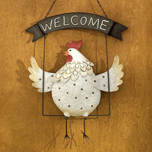 Hand Painted Metal Chicken Welcome Sign