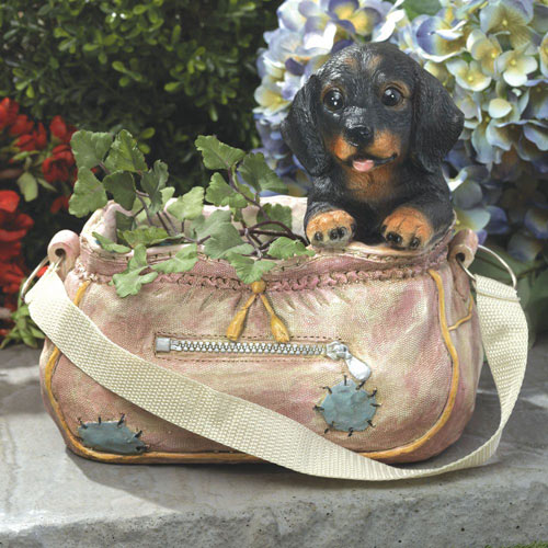 Dachshund in Pink Handbag Planter