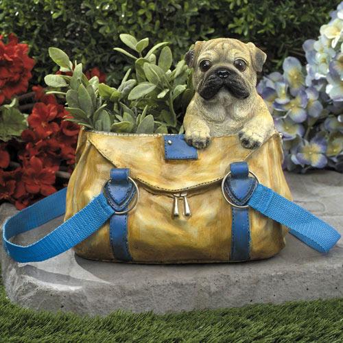 Pug in Garden Handbag Planter