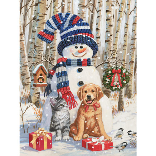 Kitten And Puppy With Snowman 500 Piece Jigsaw Puzzle