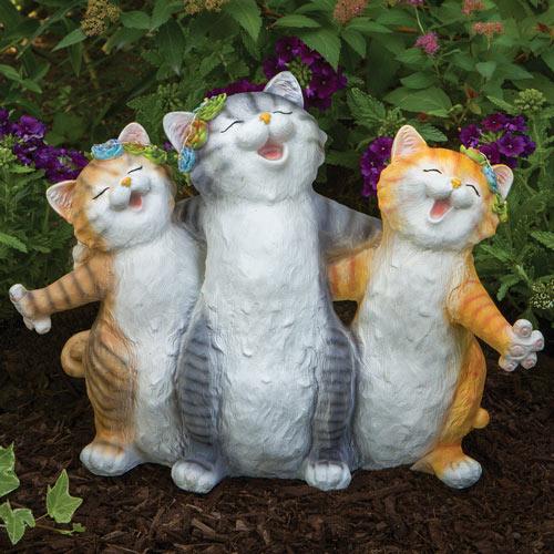 Solar Singing Kittens Garden Statue