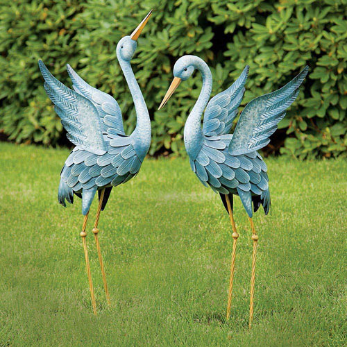 Japanese Blue Herons Animal Garden Sculptures - Set of 2