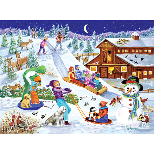Sledding At The Farm 1000 Piece Jigsaw Puzzle