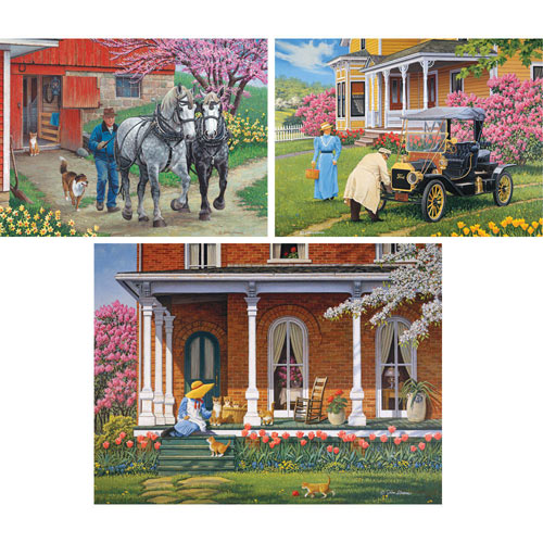 Set of 3 Pre-Boxed: John Sloane 300 Large Piece Jigsaw Puzzles