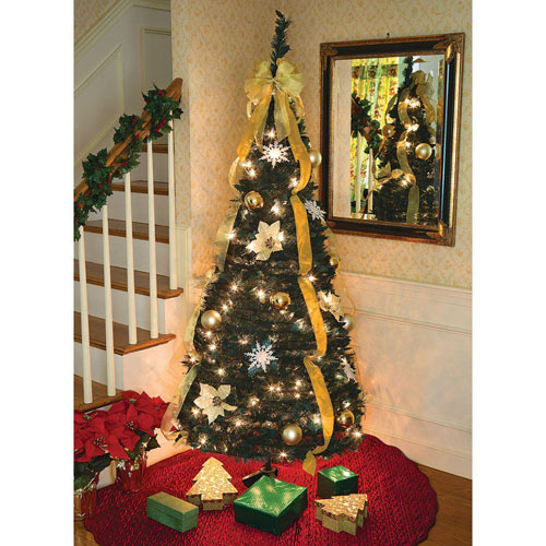 Pull-Up Tree Gold Decorated with Lights