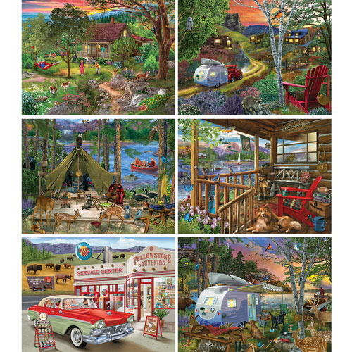 Set of 6: Bigelow Illustrations 300 Large Piece Jigsaw Puzzles