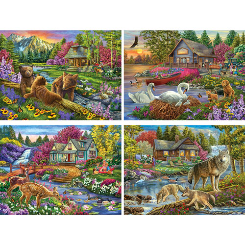 Set of 4: Cory Carlson 300 Large Piece Jigsaw Puzzle