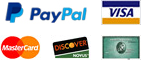 Payment Options - PayPal, Visa, Master Card, American Express and Discover Network