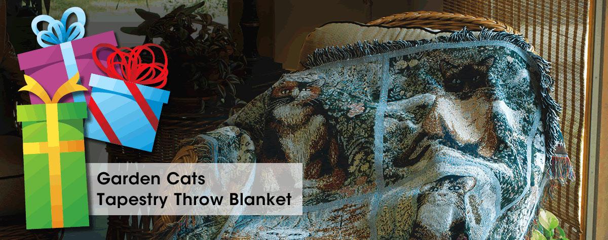 Garden Cats Tapestry Throw Blanket