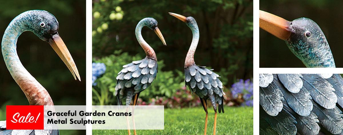 Graceful Garden Cranes Metal Sculptures