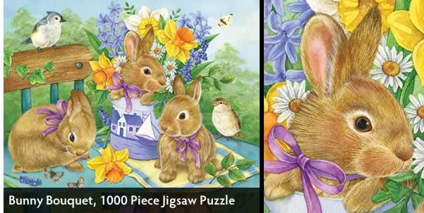 Bunny Bouquet 1000 Piece Jigsaw Puzzle