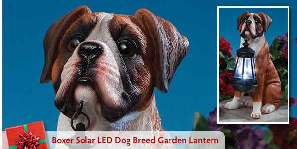 Boxer Solar LED Dog Breed Garden Lantern