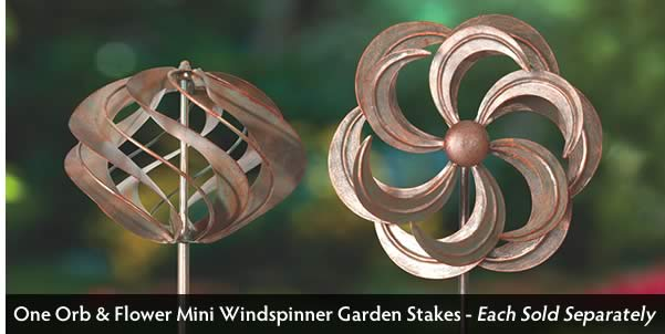 Mini Wind Spinner Garden Stakes - Flower