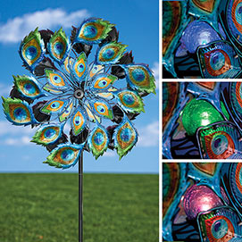 Peacock Solar LED Wind Spinner