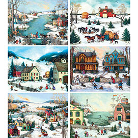Set of 6: Linda Nelson Stocks 300 Large Piece Puzzles