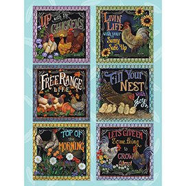 Roosters on the Farm Quilt 1000 Piece Jigsaw Puzzle