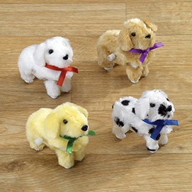 Set of 4: Wind Up Plush Puppies