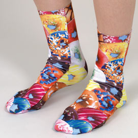 Set of 4: Sweet Treats Colourful Printed Crew Socks Collection
