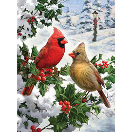 Cardinal Couple 300 Large Piece Glitter Effects Jigsaw Puzzle