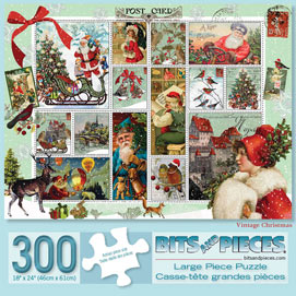 Vintage Christmas 300 Large Piece Stamp Jigsaw Puzzle