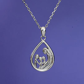 Mother & Three Children - Mother And Child Sterling Pendant Necklace