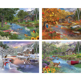 Set of 4: Bigelow Illustrations 500 Piece Jigsaw Puzzles