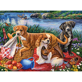 Puppy Picnic 500 Piece Jigsaw Puzzle