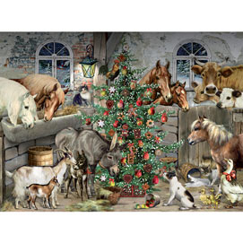 Christmas In The Barn 300 Large Piece Glitter Jigsaw Puzzle