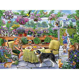 Greenhouse Tea Party 300 Large Piece Jigsaw Puzzle