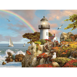 Bits and Pieces Spring Light 300 Piece Jigsaw Puzzle for Adults 300 pc Summer Lighthouse Jigsaw by Artist Alan Giana